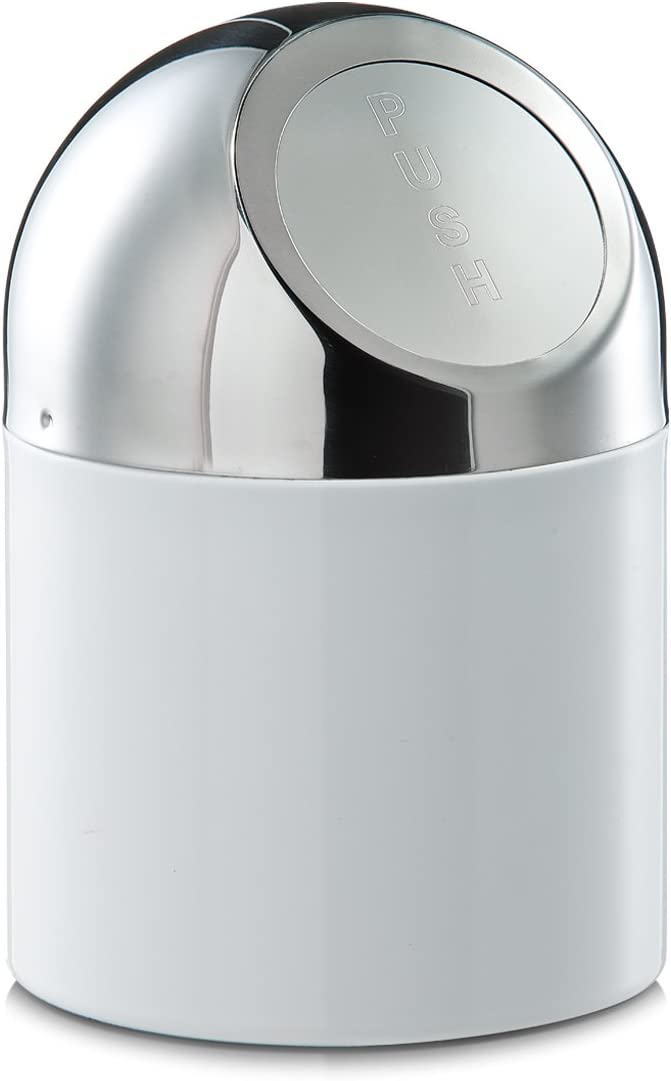 Zeller Tabletop Waste Container 12x18cm in White, Wood, 28 x 28