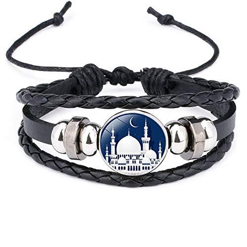 Nobrand Armreif Geflochtenes Arabisch Trendy Religiöser Glaube Mehrschichtige Mode Muslimische Frau Islam Neues Lederarmband Charms Perlen Schmuck Männer