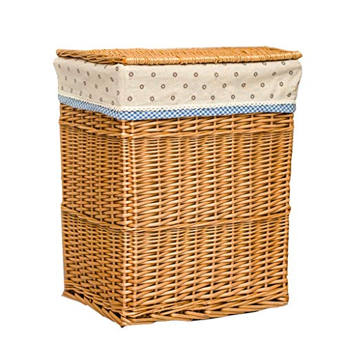 Rattan mand geweven mand met deksel Family grote kleding, speelgoed opslag mand Wasmand (Color : Beige-A, Size : M(46 * 28 * 38cm))