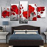 woplmh Cuadros impresos en lienzo Sala de Estar Arte de la pared -5 Piezas Pinturas de amapolas Flores Rojas Cartel Decoración para el hogar modular-40x60cmx2 40x80cmx2 40x100cmx1-Sin Marco