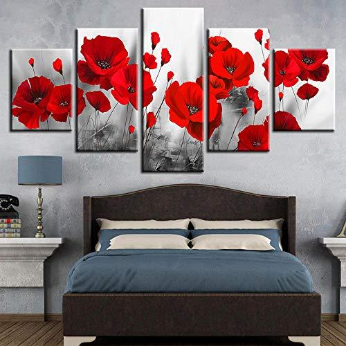 CNHNWJ Romantische klaprozen schilderijen rode bloemen canvas gedrukte afbeeldingen woonkamer slaapkamer muurkunst 5 stuks poster wooncultuur
