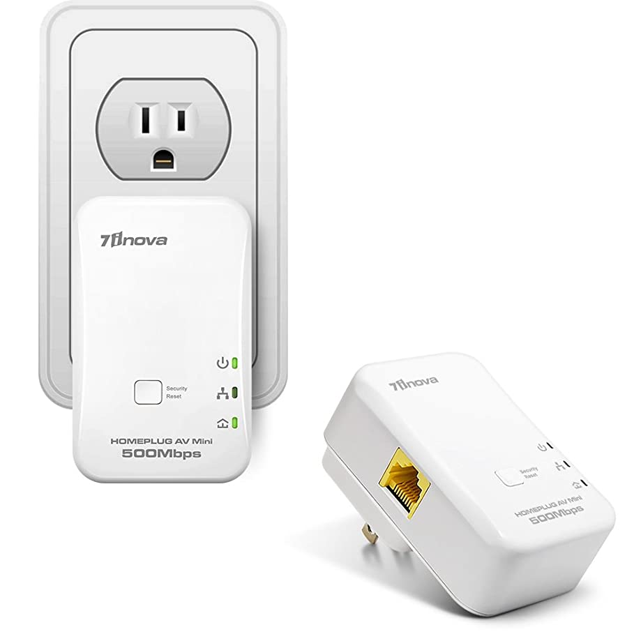 7INOVA AV500 Mini Ethernet Powerline Adapter Kit, Plug&Play Network Bridge