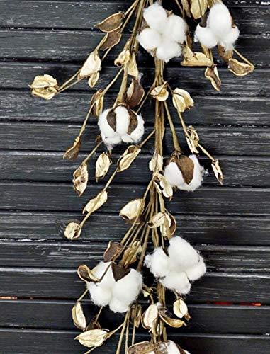 5 ft Natural Cotton & Pod Garland