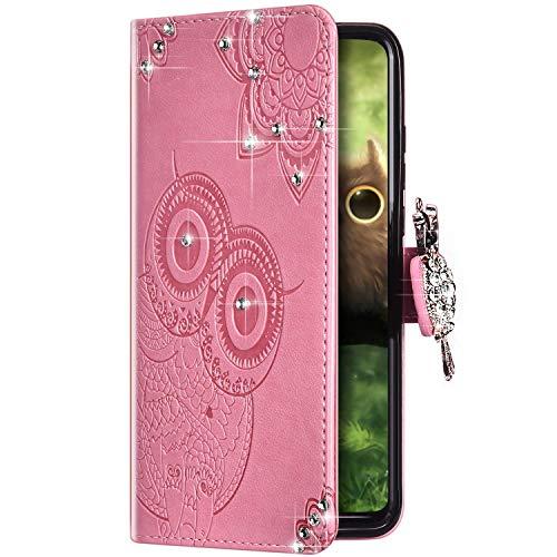 Uposao Kompatibel mit Samsung Galaxy A80 / A90 Hülle Leder Handyhülle Glitzer Strass Diamant Eule Mandala Blumen Brieftasche Schutzhülle Klapphülle Handytasche Magnet Kartenfach,Rosa