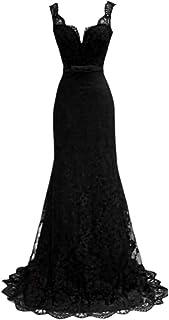 ZLDDE Damen Ärmellose Spitze mit doppeltem V-Ausschnitt Abendkleider Ballkleid Kleider