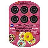 Wilton Piastra CIAMBELLINE Antiaderente 12 CAVITA' Teglia da Forno per Mini Donuts, Acciaio, Nero