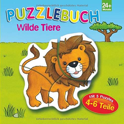 Puzzlebuch Wilde Tiere: 5 Puzzles mit je 4-6 Teilen