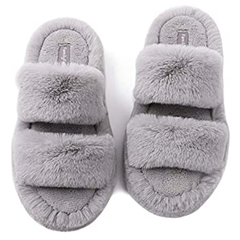 FamilyFairy Fluffy Faux Fur Slippers Comfy Open Toe Two Band Slides with Fleece Lining and Rubber Sole  Middle / 7-8 Gray