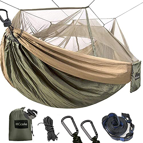 Camping Hammock with Mosquito Net - 2 Person Portable Nylon Hammock Tent for Indoor Backpacking Hiking Travel, with 10 Ft Tree Straps and 2 Carabiners Gear (Green)