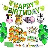 Herefun Selva Fiesta de Cumpleaños Decoracion Niño, Safari Decoracion Cumpleaños Accesorio de Fiesta de Cumpleaños Vajilla Animales de Jungla Pancartas Globos Vasos Platos Sirve 16 Invitados(B)