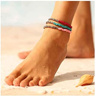 Yalice Boho Turquoise Anklets Seed Beaded Ankle Bracelet Colorful Foot Chain for Women and Girls