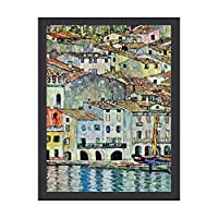 INOV マルチェシーンオンガルダレイクバイグスタフクリムト 絵画 インテリア フレーム装飾画 アートポスター 額入り(30cm*40cm) 壁画 アートパネル 油絵 壁飾り 壁掛け 木枠付き