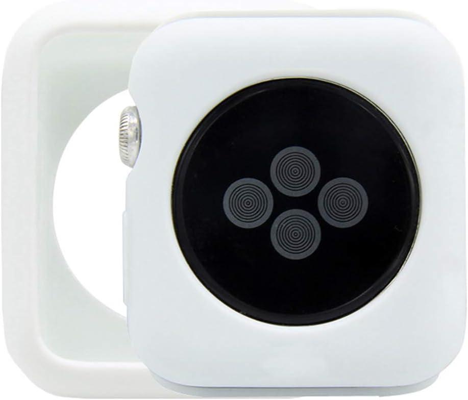 HANKN Matte Case for Apple Watch Series 3 2 1 42mm, Soft Silicone Cover Lightweight Shockproof Anti-Scratch Iwatch Bumper - White 42mm