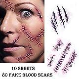 Chengzhi Tatuajes Temporales (10 Hojas) - Halloween Zombie Cicatrices Tatuajes Pegatinas con Falso Scab Sangre Especial Fx Costume Maquillaje Props