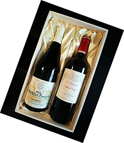 ル・マルキ・ド・カロン・セギュール×シャブリ プルミエ クリュ(1級)紅白ワイン 木箱入り 750ml×2本
