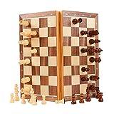 Juego de ajedrez de tablero magnético de ajedrez, tablero de ajedrez de madera maciza y juego de damas con diseño de tablero plegable portátil, ejercicio cerebral para niños & estudiantes ,28x29x2.5cm