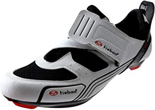 OneChange Mens Cycling Shoes Breathable MTB Road Bike Shoes Anti-Skid Spinning Shoes with Self-Locking System (Color : White, Size : 12 UK)