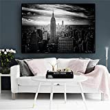 KAOLWY Cuadro En Lienzo Blanco Y Negro De La Ciudad De Nueva York Manhattan Building Canvas Painting Posters and Prints Wall Art Picture For Living Room