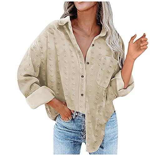 Chaqueta de pana para mujer con cuello en V y manga larga, estilo informal, blusa con bolsillo, C Beige, S