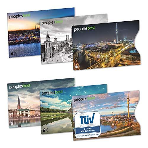 TÜV geprüfte RFID & NFC Blocker Kreditkarten-Schutzhülle (6 Stück) | stabile EC Kartenhülle gegen Datenklau und unerlaubtes auslesen | super dünn & reißfest für 100% Datenschutz - Motive (Stadt)