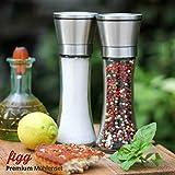 figg Design Salz und Pfeffermühle (2er-Set) mit einstellbarem Keramik-Mahlwerk – aus Edelstahl – Auch geeignet als Salzmühle und Gewürzmühle - 8