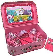 Oojami 23 Piece Childrens Pretend Tin Tea Set Including a Carrying case Unicorn Theme (Unicorn)
