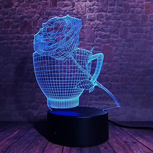 3D Illusion Lampen Kaffeetasse Und Rose 16 Farben Led Nachtlicht Touch-Schalter Schlafzimmer Schreibtisch Beleuchtung Haus Dekoration Für Kinder Weihnachten Geburtstag Beste Geschenk Spielzeug