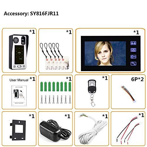 NA 7Inch Vingerafdruk Ic Card Video-deur Telefoon Intercom Deurbel met Deurtoegangscontrole Systeem Nachtzicht Beveiliging CCTV-Camera Thuisbewaking