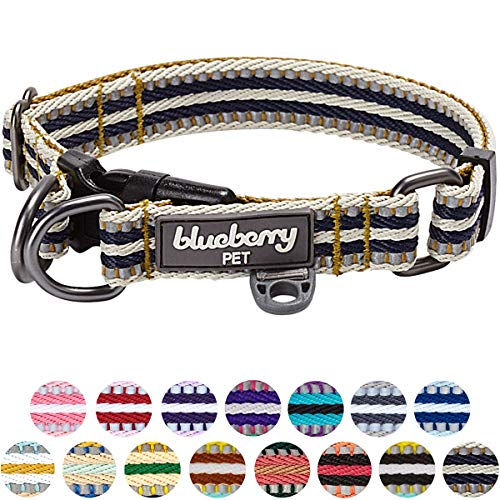 Blueberry Pet 6 Colors 3M Reflective Multi-colored Stripe Dog Collar, Olive and...