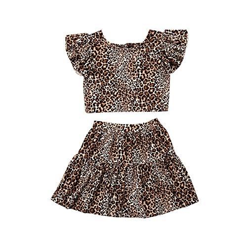 Carolilly Conjunto de ropa para bebé o niña, ropa de verano, 2 piezas, conjunto de ropa de verano Leopard B. 6-12 Meses