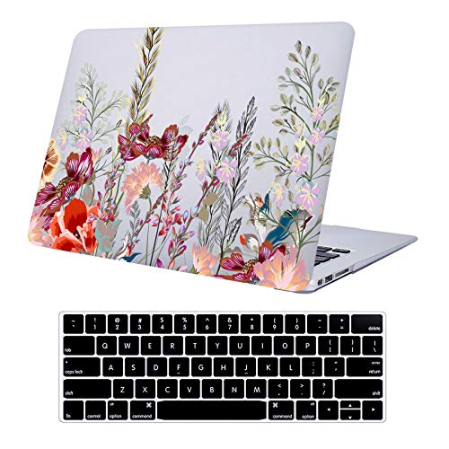 AUSMIX Macbook Air 13 Inch 2020 2018 2019 Case M1 A2337/A2179/A1932 with Touch ID, Plastic Hard Case Rubber Pattern Protective Cover and Keyboard Cover for 2020 Macbook Air 13.3 Inch, Flowers