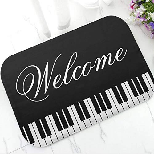 3D Printing Door Mat Floor Mats Classy Piano Keyboard Welcome Door Mat Gold Music Notes Key Board Doormat Rug Carpet for Pianist Music Teacher Gift Home Kitchen Room Decor