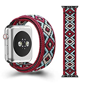 CreateGreat Elastic Bands Compatible with Apple Watch Band 38MM,40MM Double Side Aztec Red Pattern Stretch Bands for Series 5 4 3 2 1