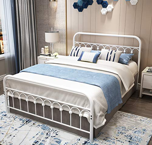 Vintage Sturdy Queen Size Metal Bed Frame