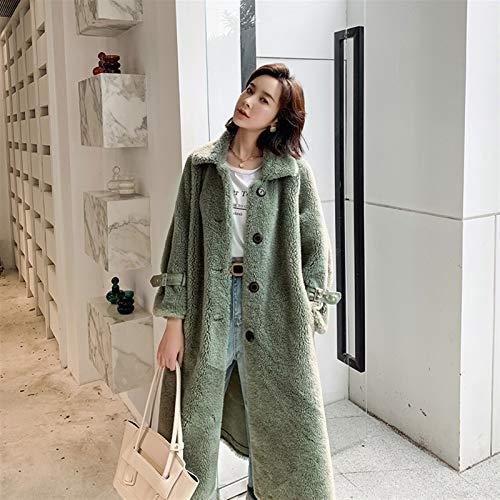47-B Chaqueta para mujer, lana de grano de oveja, abrigo largo de piel de cordero para mujer, grueso de invierno (color: verde)