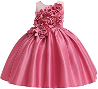 Hopscotch Girls Poly Viscose Lovely Solid Floral Applique Sleeveless Dress in Pink Color