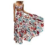 Vestido Mujer Verano Vestido Mujer Correa de Pecho Envuelta Sexy Vestido con Estampado Dividido Casual Playa Largos Verano Tie Dye