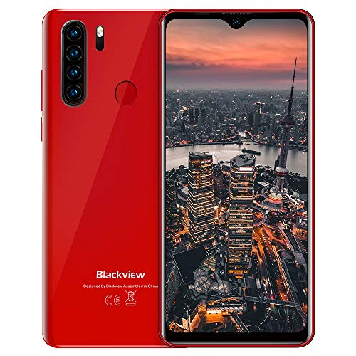 Teléfono celular 4G, smartphone Blackview A80 Plus movíl libre con Android 10 desbloqueado, 4GB + 64GB, pantalla de 6.49 pulgadas, 4680 mAh, Nano SIM dual, cuatro cámaras de 13MP + 8MP, huella digital