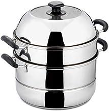 MSWL 304 Stainless Steel Three-layer Steamer, 24cm/26cm/28cm/30cm Induction Cooker Universal hot pot, kitchen utensils (Co...