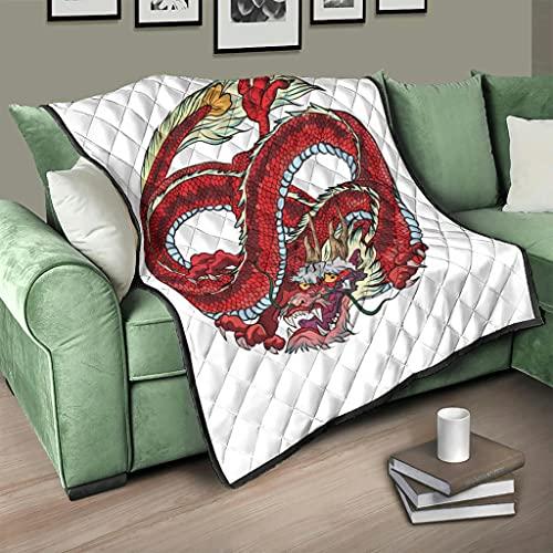 Flowerhome Japanisch Drache Steppdecke Tagesdecke Bettdecke Bettüberwurf Sofadecke Couchdecke Schlafdecke Winterdecke für Sofa Couch Bett White 100x150cm
