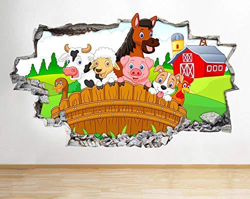 Wandtattoo Nutztiere Zaun Scheune Kinder Wandaufkleber Wandaufkleber 3D-80x120cm