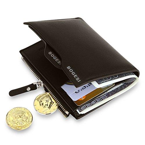 MPTECK @ Marrón Cartera para hombre Estilo plegable Monedero Billetera de PU Cuero con Bolsillo para monedas Ranuras Portatarjetas extraíble