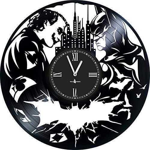 Wall Clock Vinyl Record Compatible with Batman VS Joker - 12 inch - Made in Europe - Precision Silent Quartz Movement - Best Gift for Fans Film Batman VS Joker - Original Design - Home Decoration