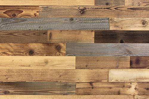 wodewa Wandverkleidung Holz selbstklebend 3D Altholz Recycling Wandpaneele 1m² Moderne Wanddekoration Holzverkleidung Vintage Holzwand Wohnzimmer Küche Schlafzimmer