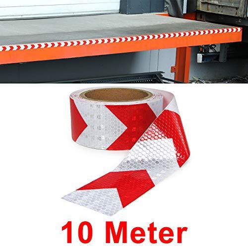 Carparts-Online 30057 Signalband Markierungsband Absperrband selbstklebend reflektierend rot weiß 10m