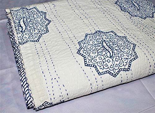 Handblock Printed White Blue Butta New Design Handmade Kantha Quilt, Bedspread, Bedcover, Kantha Quilt Throw, Bohemian Throw, Kantha Bedding Cover Queen Size (90X108 Inches)