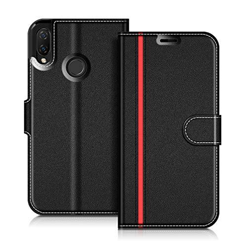 COODIO Handyhülle für Huawei P Smart Plus 6,3 Zoll Handy Hülle, Huawei P Smart+ Hülle Leder Handytasche für Huawei P Smart Plus Klapphülle Tasche, Schwarz/Rot