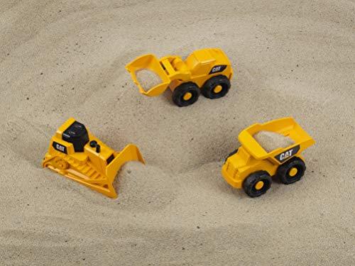Theo Klein 3236 bouwvoertuigen 3-delig CAT bouwplaatsvoertuigen set voor de zandbak, geel