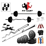 FIT KART Home Gym Exercise Set with 20kg PVC Weight and Other Accessories