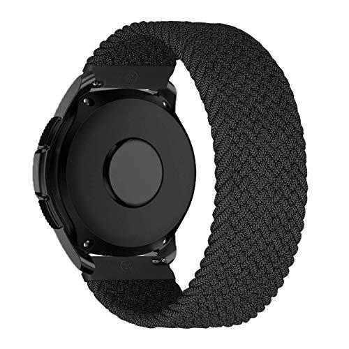 MroTech 20mm Uhrenarmband kompatibel für Samsung Galaxy Watch 42MM/Active 2/Active2 40mm/44mm/Galaxy Watch3 41mm Armband für GT 2 42MM/GTR 42 mm/GTS Nylon Loop Elastic Woven Band Kohlenschwarz/XS